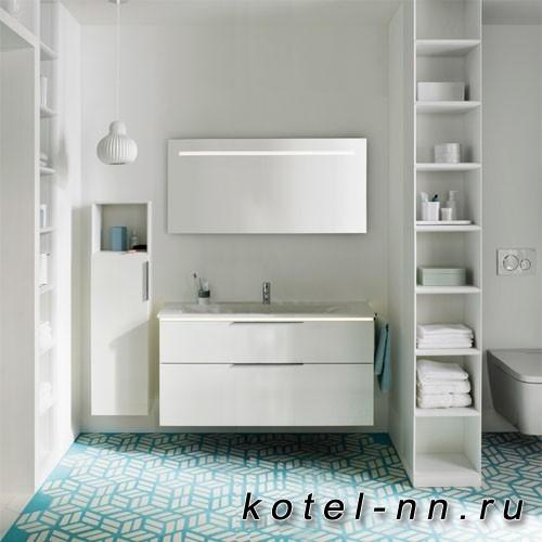 Комплект мебели Burgbad Eqio 120 см, база подвесная с керам.умыв. 2 ящика с ручкой желоб., c 1отв под смес. вкл сифон, цвет белый глянц F2009 с подсв тумбы
