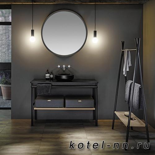 Комплект напольной мебели Burgbad Mya 120x50x79 см, дуб черный, столешница с раковиной черные