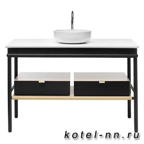 Комплект напольной мебели Burgbad Mya 120x50x79 см, дуб черный, столешница с раковиной белые