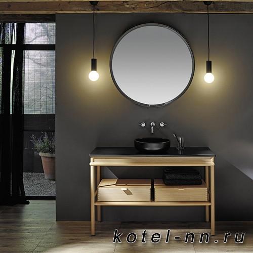 Комплект напольной мебели Burgbad Mya 120x50x79 см, дуб натуральный, столешница с раковиной черные