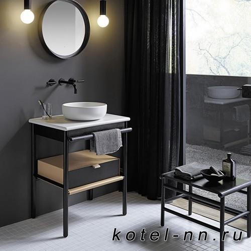 Комплект напольной мебели Burgbad Mya 65x50x79 см, дуб черный, столешница с раковиной белые