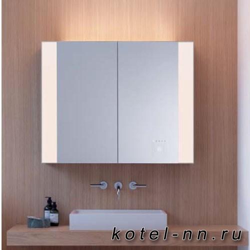 Зеркальный шкаф Burgbad RL40 с управлением светом 1000х800х765 мм ,2 зерк. двери с обоих сторон,3 стекл полки, 2 эл.розетки, светод подсв.цвет белый гл F4850, версия L