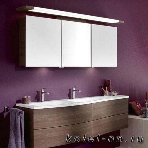 Комплект подвесной мебели Burgbad Sinea 1.0 161 см, база с 4 выдвижными ящиками цвет капучино, раковина двойная из минерального литья цвет белый с зеркальным шкафом с верхней подсветкой цвет капучино