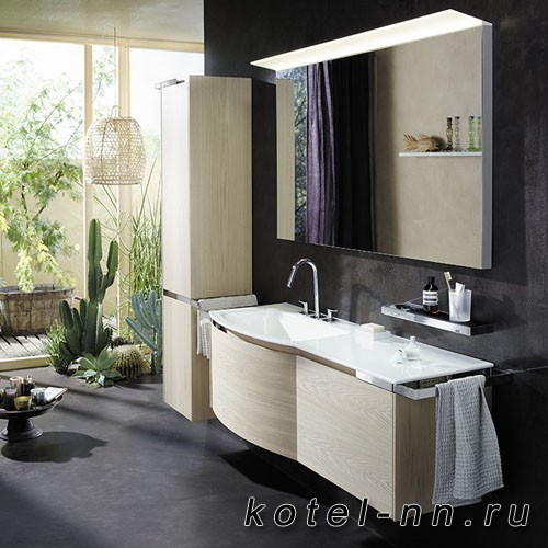 Комплект подвесной мебели Burgbad Yso 158x49x45 см, с круглым керамическим умывальником. раковина слева, цвет аутентичный дуб