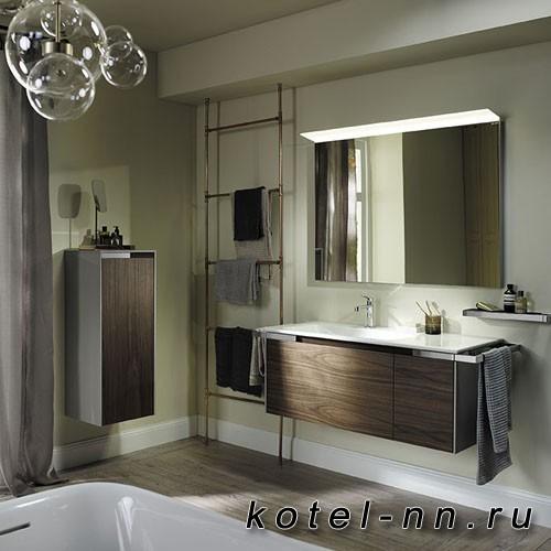 Комплект подвесной мебели Burgbad Yso 128x49x45 см, с прямоугольным керамической раковиной слева, с 2-мя полотенцедержателями, цвет корпуса светло-серый глянцевый/фасада коньячный орех