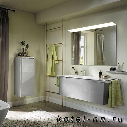 Комплект подвесной мебели Burgbad Yso 128x49x45 см с керамическим умывальником, 2-мя полотенцедержателями, цвет светло-серый глянцевый