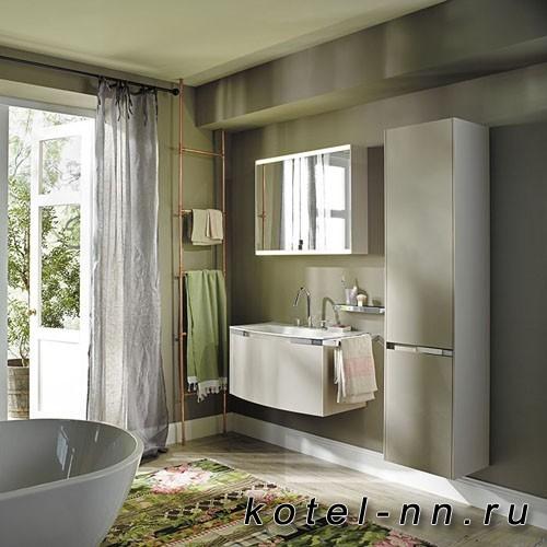Комплект подвесной мебели Burgbad Yso 89.5x49x45 см, цвет песочный глянцевый с полотенцедержателем слева. цвет хром.