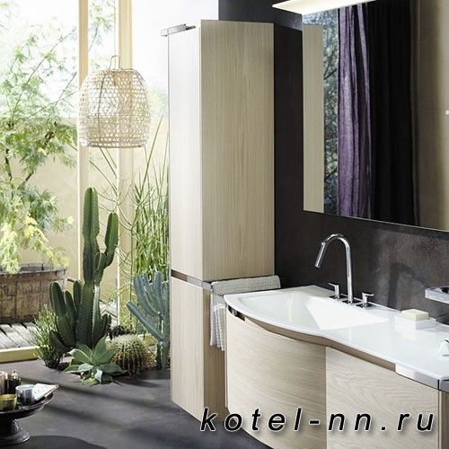 Шкаф подвесной Burgbad Yso 40x35x176 см, цвет аутентичный дуб