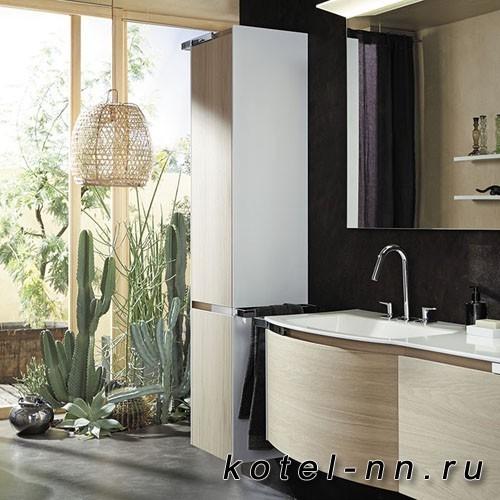 Шкаф подвесной Burgbad Yso 40x35x176 см, цвет белый глянец/аутентичный дуб