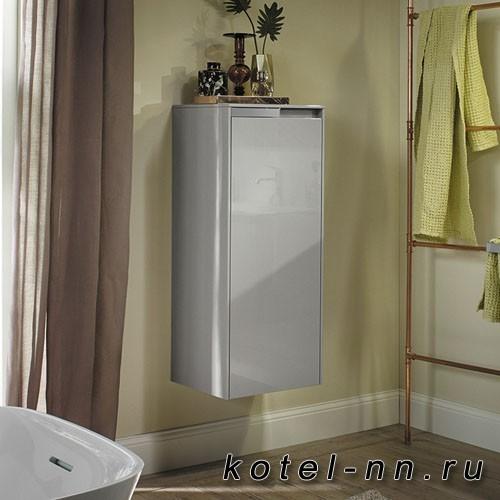 Шкаф подвесной Burgbad Yso 40x35x97 см, цвет светло-серый глянцевый