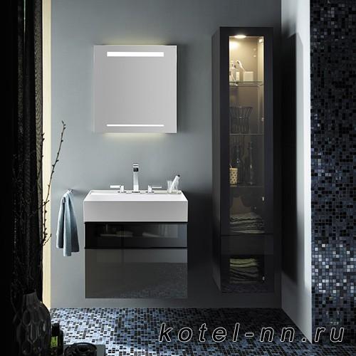 Комплект подвесной мебели Burgbad Yumo 66x47x64 см, со стеклянной вставкой, серый
