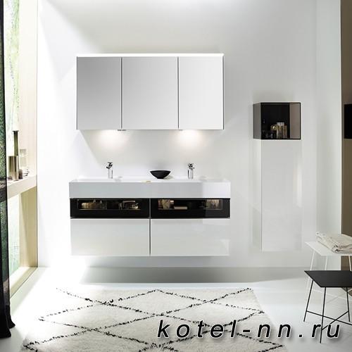 Комплект подвесной мебели Burgbad Yumo 131x47x64 см, со стеклянной вставкой, цвет белый