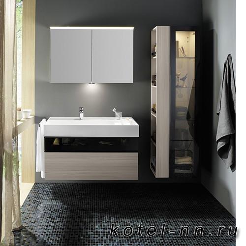 Комплект подвесной мебели Burgbad Yumo 100x47x64 см, со стеклянной вставкой, карамельный дубовый