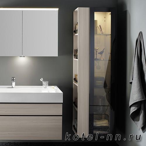 Шкаф подвесной Burgbad Yumo 35x32x176 см, с подсветкой, карамельный дубовый