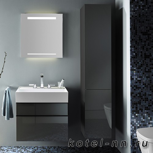 Шкаф подвесной Burgbad Yumo 35x32x176 см, цвет серый