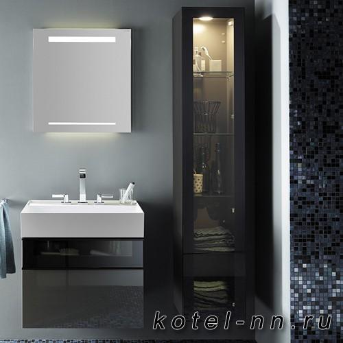 Шкаф подвесной Burgbad Yumo 35x32x176 см, с подсветкой, цвет серый
