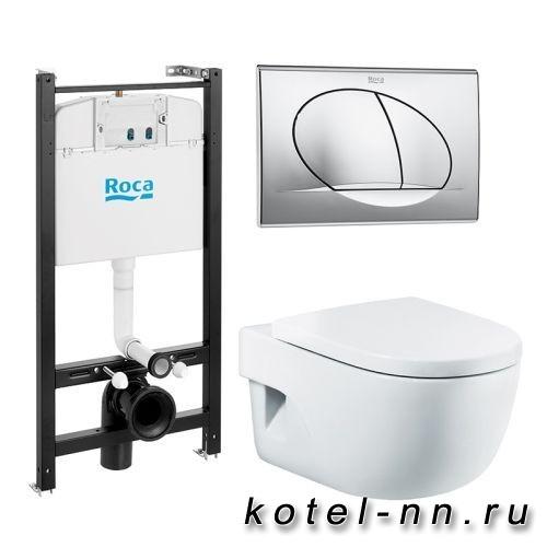 Комплект Roca Pack Meridian Compact инсталляция, кнопка смыва, унитаз, сиденье