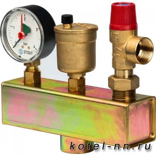 Группа безопасности котла STOUT (до 50 кВт) (без теплоизоляции), арт. SVS-0004-025025