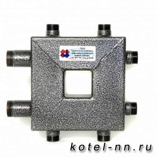 Распределительный коллектор совмещенный с гидравлическим разделителем на 3 контура, арт. ГК3-50