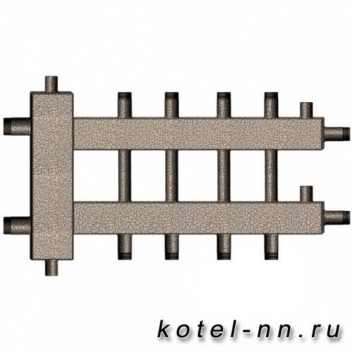 Распределительный коллектор совмещенный с гидравлическим разделителем на 5 контуров, арт. ГК5-70