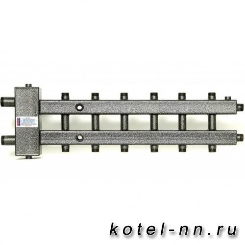 Распределительный коллектор совмещенный с гидравлическим разделителем на 7 контуров, арт. ГК7-110