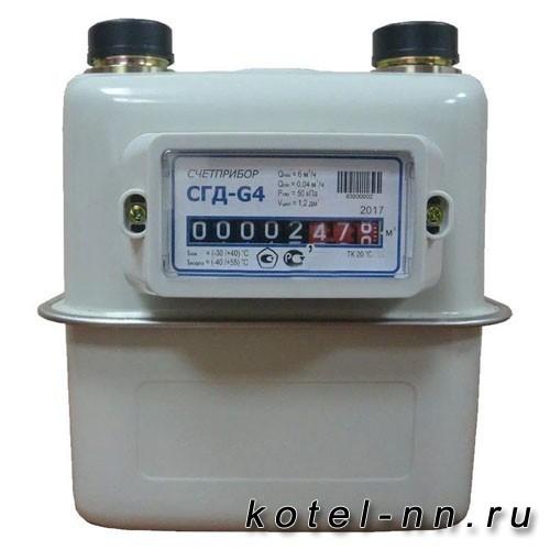 Газовый счетчик Счетприбор СГД-G4 ДУ G1 Орел, левый (Аналог Воронеж),  межосевое 110 мм