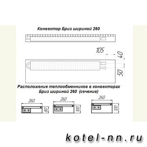 Внутрипольные Конвекторы Бриз 260х120