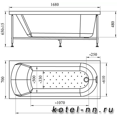 Гидромассажная ванна Радомир (Вахтер) Кэти 168х70, форсунки белые (3-01-1-0-0-306)