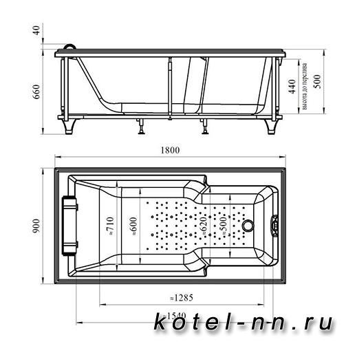 Акриловая ванна Радомир (Fra Grande) Руссильон 180х90, на ножках (комплектация золото) (4-01-3-0-1-423)