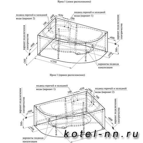 Гидромассажная ванна Радомир (Вахтер) Ирма 160х105 L форсунки хром (3-01-2-1-0-321)