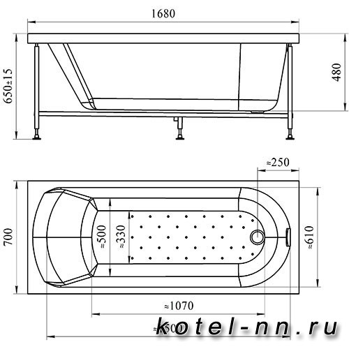 Акриловая ванна Радомир (Vannesa) Кэти 168х70 (2-01-0-0-1-206)