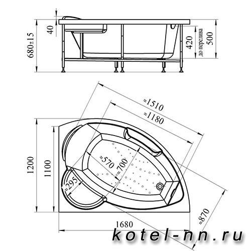 Гидромассажная ванна Радомир (Вахтер) Алари 1680х1200, R форсунки белые (3-01-1-2-0-315)