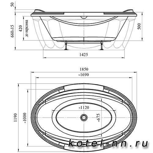 Акриловая ванна Радомир (Fra Grande) Гранада 185х119, с рамой-подставкой (4-01-0-0-1-404)