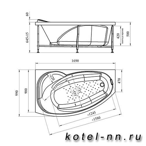 Акриловая ванна Радомир (Vannesa) София 169х99 (правосторонняя)(2-01-0-2-1-223)