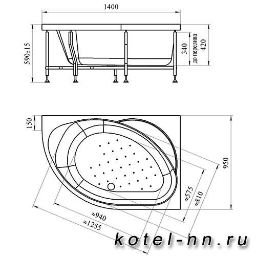 Гидромассажная ванна Радомир (Вахтер) Мелани 1400х950, R форсунки хром (3-01-2-2-0-310)