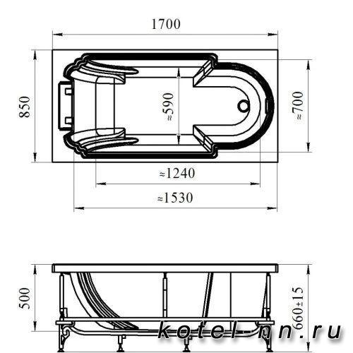 Акриловая ванна Радомир (Fra Grande) Анабель Chrome 170х85, с рамой-подставкой (4-01-2-0-1-420)
