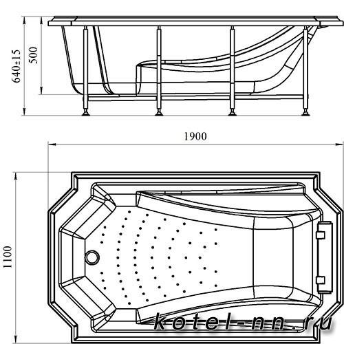 Гидромассажная ванна Радомир (Fra Grande) Эстелона-BRONZE 190х110, с рамой-подставкой (4-01-4-0-5-409)