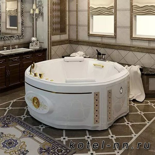 Гидромассажная ванна Радомир (Fra Grande) Фарнезе-GOLD 190х190, с рамой-подставкой (4-01-3-0-7-425)