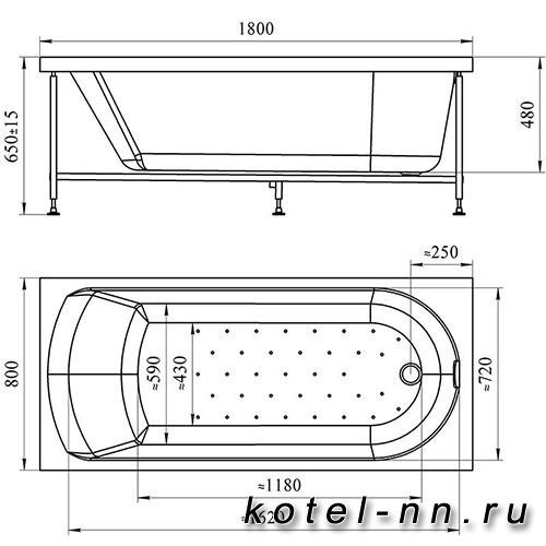 Акриловая ванна Радомир (Vannesa) Николь 180х80 (2-01-0-0-1-210)