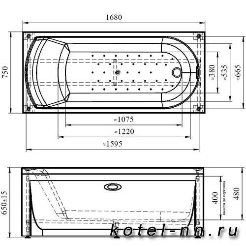 Акриловая ванна Радомир (Vannesa) Кэти 168х75 (2-01-0-0-1-225)