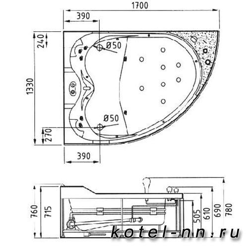 Акриловая ванна Gemy (G9086 O L)