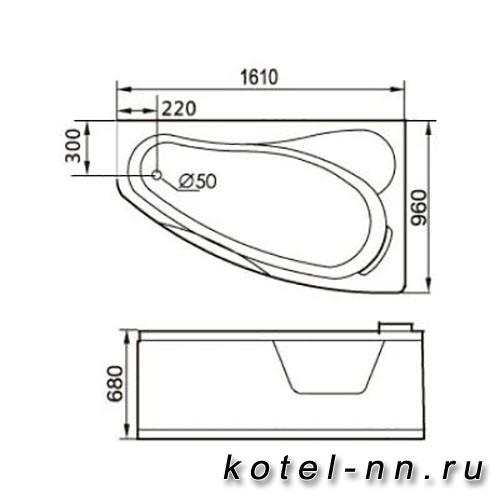 Акриловая ванна Gemy (G9046 O R)
