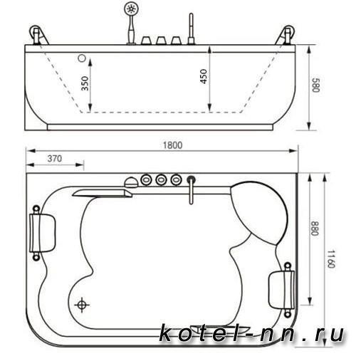 Акриловая ванна Gemy (G9085 O L)
