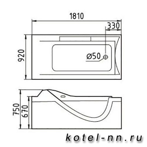Акриловая ванна Gemy (G9055 O R)