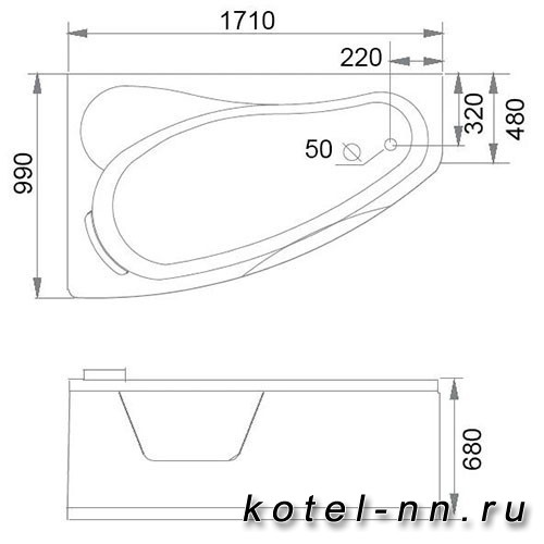 Акриловая ванна Gemy (G9046 II B L)
