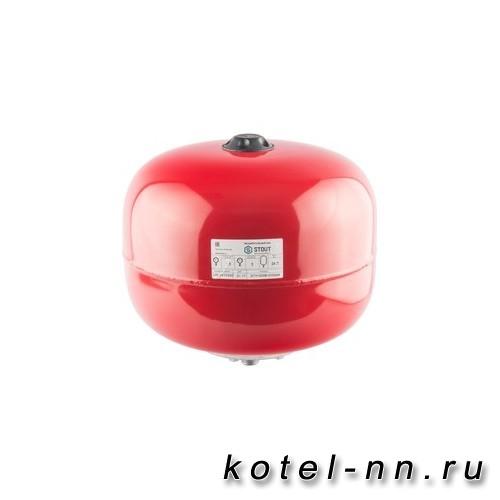 Расширительный бак Stout на отопление 24 л. (цвет красный)
