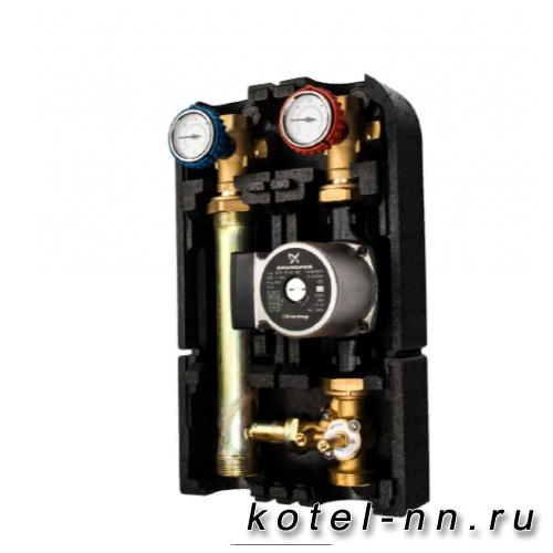"""Насосная группа Stout с 3-х ходовым приводным смесителем 1"""" с насосом Grundfos UPSO 25-65, 29 kW[DT10°C]"""